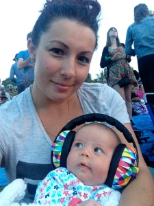 Out to see our favorite folk singer when she was 1 1/2 months.